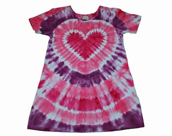 Girls Dress in Shades of Pink Tie Dye with a Hot Pink Heart