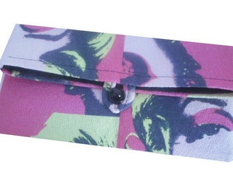 Warhol Style Marilyn Monroe Print Cotton Clutch Bag in Pink, Yellow and Black - Iconic & Kitsch