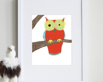 Woodland Owl Decor 8 x 10 art print by nevestudio - different colors and sizes available
