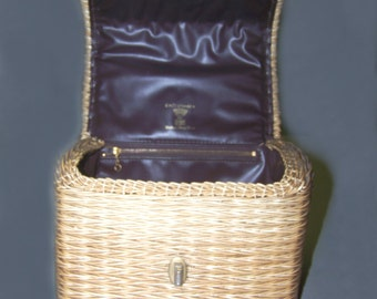 60s plastic coated bamboo straw basket handbag leather lining by Lewis Hong Kong
