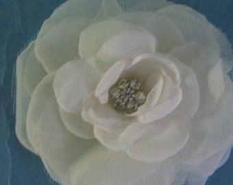 Bridal Hair Flower,  Ivory Organza Rose Hair Clip E123 _ bridal hair wedding accessory