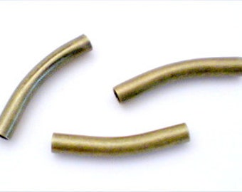 10 Curved Tube Beads Antiqued Solid Brass 25 x 4mm with 3mm Hole BD-82AGP