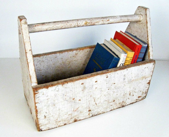 vintage white wooden tool box tote