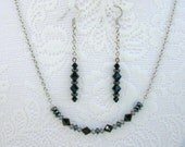 RESERVED FOR KAL6870/ 4  Swarovski Crystal Necklace and Earring Sets / Black/ Emerald/Tanzanite/Indicolite