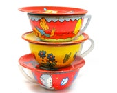 50s Tin Toy Tea Cups & Saucers, Set of 6 with kitty, puppy, monkey, horse.