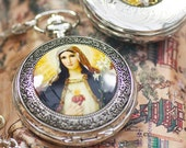 holy beautiful Immaculate Heart pocket watch / medal roman catholic