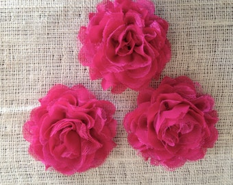 FLOWER-Chiffon and Lace-HOT PINK-4 1/2 inches-set of 3
