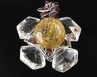 Rutilated Quartz, Garnets, and Rock Quartz Gemstone Flower Pendant