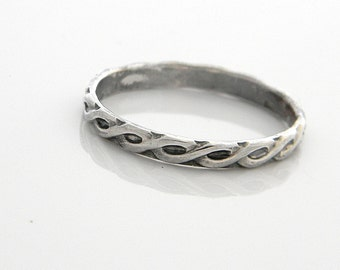 Sterling Silver Braided Rope Motif ring Antiqued finish size 10.75