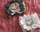 two bow fairy kawaii hair clips lace duel brooch lavender applique