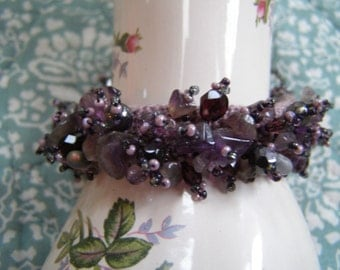 Monet's Water Lilies and Beaded OOAK Bracelet