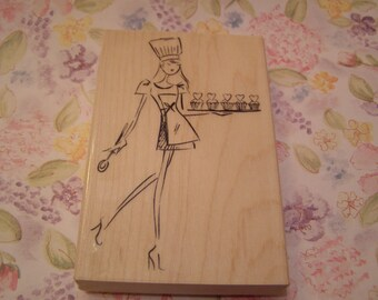 Cupcake Strut Penny Black wood mounted Rubber Stamp