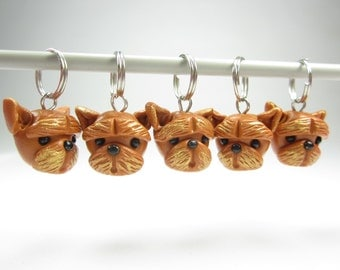 Yorkshire Terrier Stitch markers set of 5 polymer clay dog stitch markers yorkie charms yorkshire terrier gifts knitting accessories dog