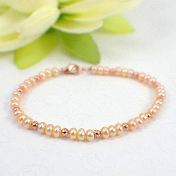Slender peach pearl copper bracelet freshwater beaded jewelry