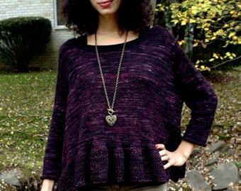Knitting Pattern- Women's Peplum Pullover