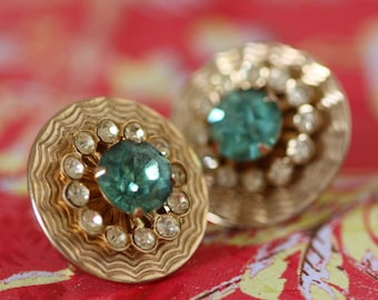 Gold and Blue Rhinestone Earrings - Vintage Costume Jewelry
