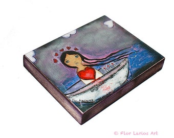 Sailing with you  -  Giclee print mounted on Wood (5 x 7 inches) Folk Art  by FLOR LARIOS