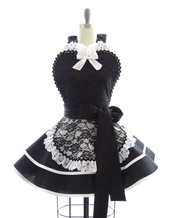 Retro Apron - French Maid Sexy Womens Aprons - French Maid, Bridal Gift, & Cosplay Aprons for Women by BambinoAmore