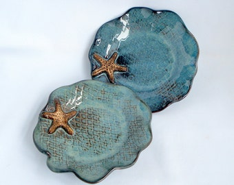 Set of two Sea inspired small blue plates Made to order
