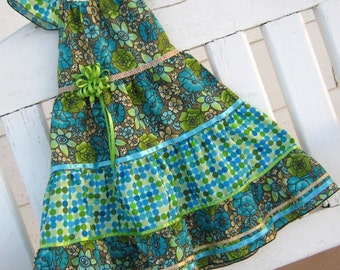 Dress- -Peasant Style -Size 6-Polka Dot Flowers in Turquoise, lime, Aqua
