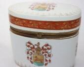 Vintage Made in Japan LJ Original Horse Crest Container with Lid Ceramic Biscuit Jar Tea Safe Vintage Biscuit Jar Antique Tea Safe