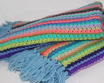 Vintage Set of Two Afghans Multi Color Blanket Throw Matching Set Hand Knitted Striped Antique Pair of Blankets Handmade Hand Knit Matching