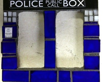 Doctor Who TARDIS Mosaic Double Rocker Light Switch Plate Cover Made-To-Order