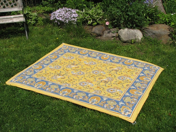 Sunny Yellow and Blue Paisley Picnic Blanket, Stake Down Design