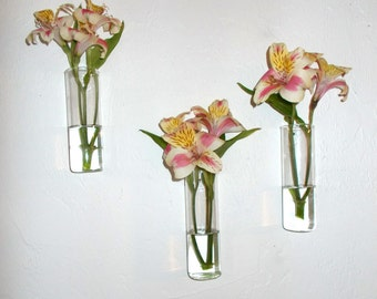 Set of Three Hand Blown Glass Wall Vases