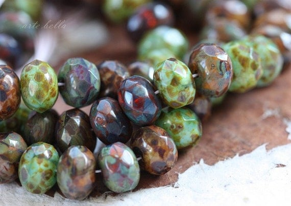 RUSTIC EARTH .. 10 Picasso Glass Czech Rondelle Beads 6x9mm (1364-10)
