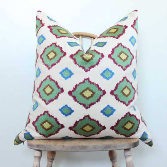 "24"" Schumacher Moroccan Ikat Embroidery Pillow Cover"