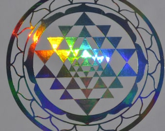 Sri Yantra sacred geometry shimmer chrome vinyl decal