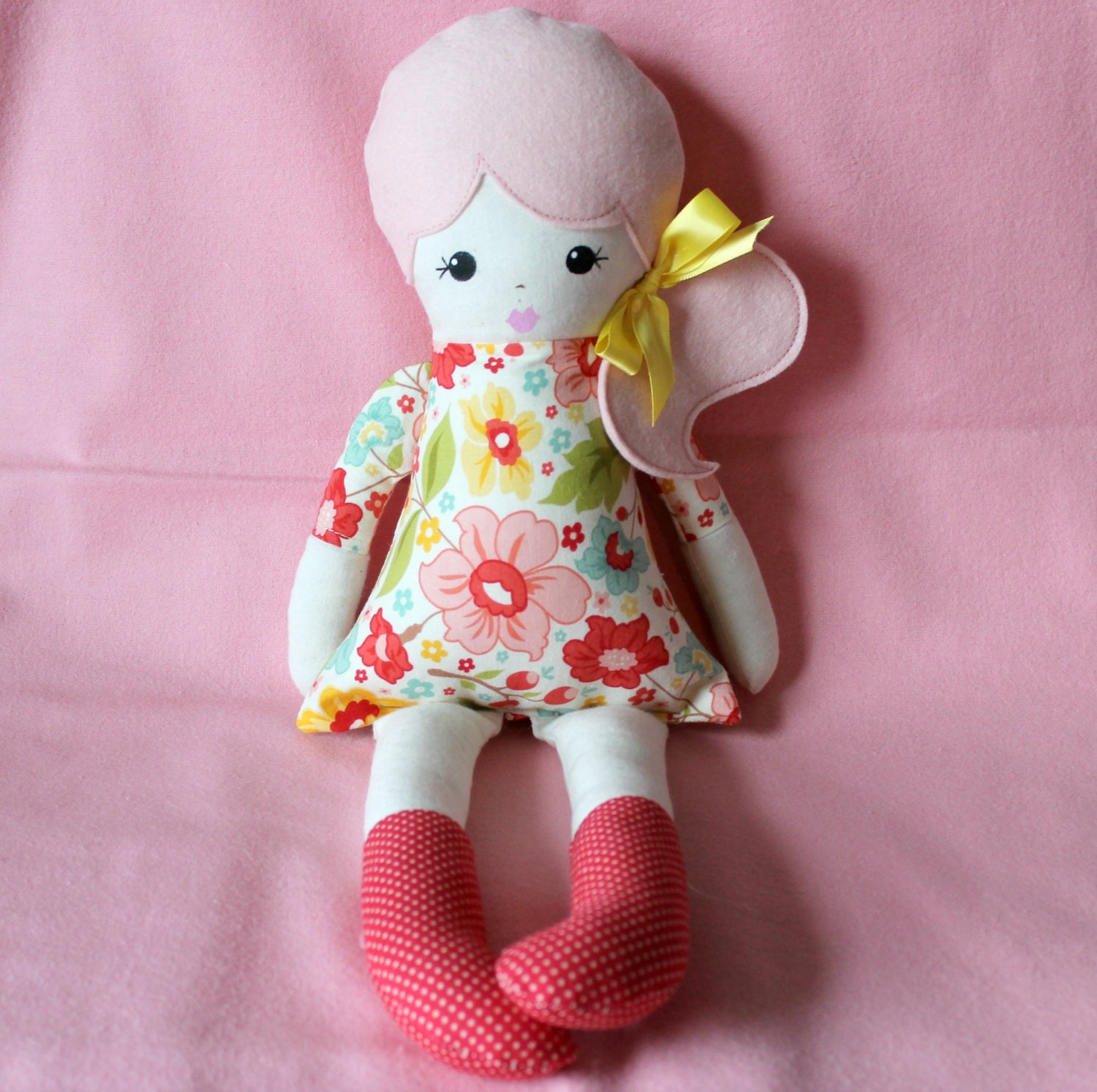 Handmade Pink Hair Cloth Rag Doll Side Pony With A Bow