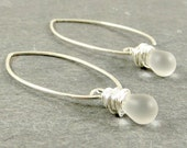 Drop Earrings Matte Glass Sterling Silver Gifts for Her