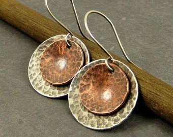 Domed Dangle  Earrings Textured Mixed Metal Sterling Silver Copper Gifts for Her