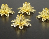 Brass Bead Cap 10 Vintage Bright Shiny Gold Flower 3 Tiered Layer Filigree Bendable 16mm (1123cap16d1)xz