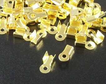 Cord Tips 80 Gold Color Fold Over End Clamp Jewelry Connector 9mm (1024con09d1)