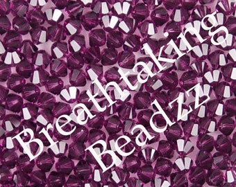 Swarovski Crystal Beads 50 Amethyst 4mm Bicone 5328 Many Colors In Stock