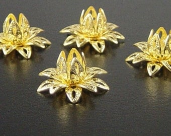 Bead Cap 10 Vintage Bright Shiny Gold Flower 3 Tiered Layer Filigree Bendable 16mm (1123cap16d1)xz