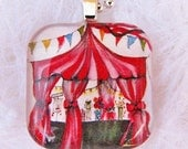NEW, Little Big Top, Glass Tile Pendant, with Your Choice of Necklace. Created with an exclusive Shelley Roze image.