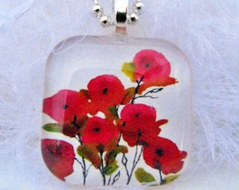 NEW, Tiny Pink Poppies, Glass Tile Pendant, with Your Choice of Necklace. Created with an exclusive Shelley Roze image.