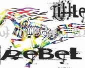 Little Rebel Tribal Horse Flames T-Shirt for Kids