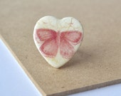 Butterfly ring - heart ring - shabby chic - woodland