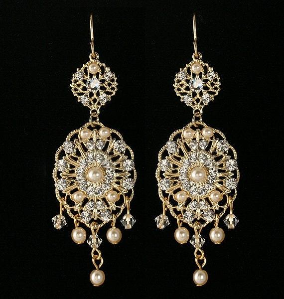 Bridal earrings Chandelier earrings Bridal pearl earrings