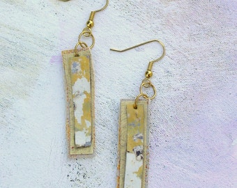 Buttery yellow dangle earrings upcycled palette in spring colors