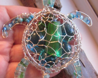 Sea turtle sea glass pendant/ ornament/ suncatcher large size in sterling silver your choice of colors  #seaturtle