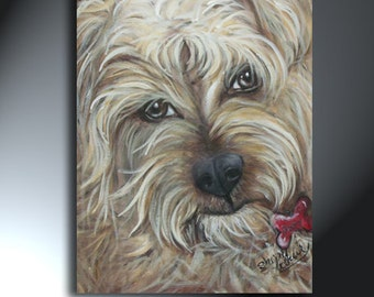 Scruffy Dog Beautiful Original Realistic Acrylic Pet Portait Painting 12x16 Brown Tan