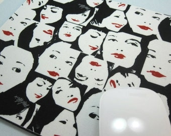 Buy 2 FREE SHIPPING Special!!   Mouse Pad, Computer Mouse Pad, Fabric Mousepad    Fashionista Faces