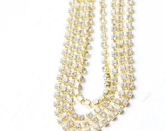 1 Foot of Preciosa Rhinestone Chain SS6.5 - Crystal - Gold with Crystal Rhinestone (5115)