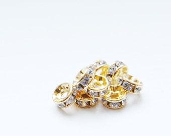 4pcs Swarovski Rondelles 1577 - Crystal and Gold 6mm (SW65001)